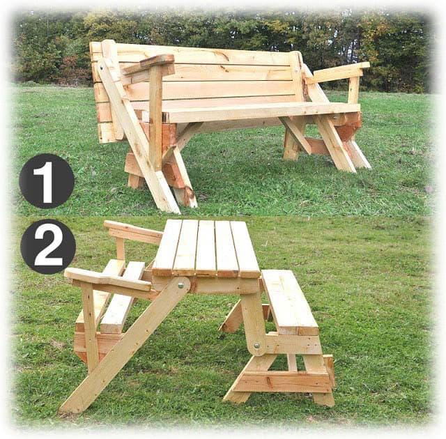 Сгъваема Масивна Дървена Маса с Пейка, Идеална за Двор и Градина 11